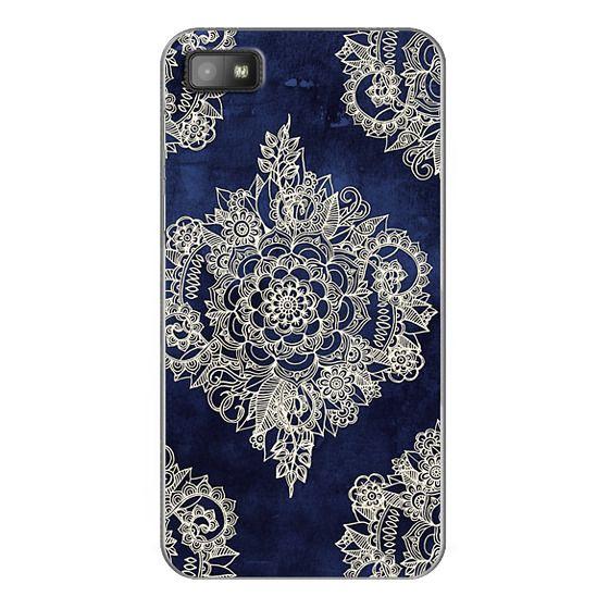 Blackberry Z10 Cases - Cream Floral Pattern on Deep Indigo Ink