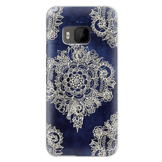 Htc One M9 Cases - Cream Floral Pattern on Deep Indigo Ink