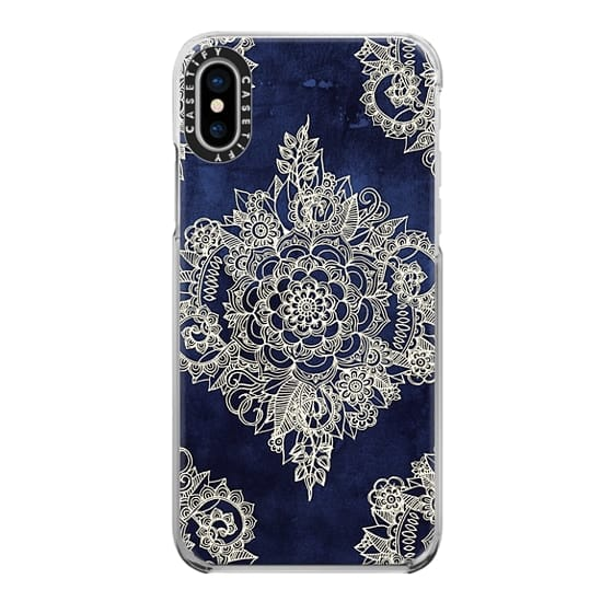 iPhone X Cases - Cream Floral Pattern on Deep Indigo Ink
