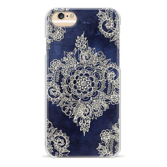 iPhone 6 Cases - Cream Floral Pattern on Deep Indigo Ink