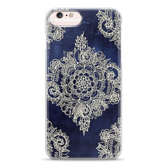 iPhone 6s Plus Cases - Cream Floral Pattern on Deep Indigo Ink