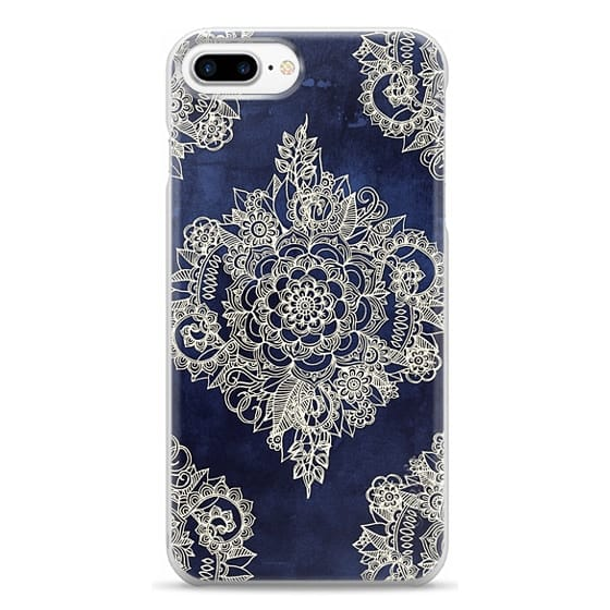 iPhone 7 Plus Cases - Cream Floral Pattern on Deep Indigo Ink