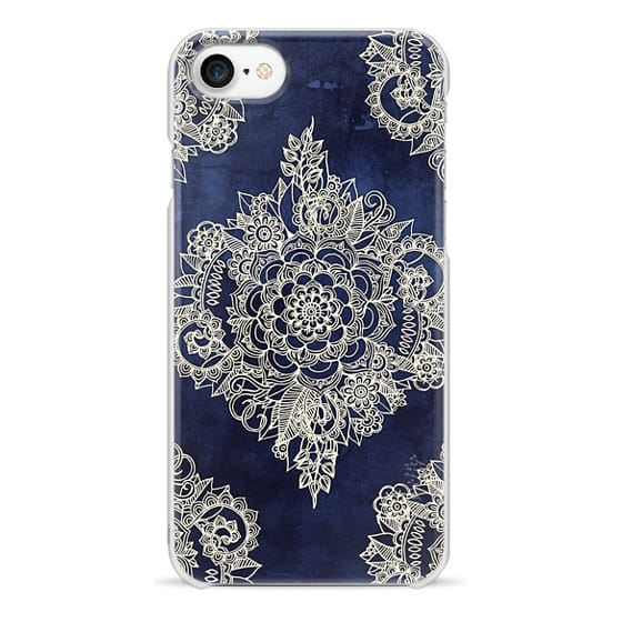 iPhone 7 Cases - Cream Floral Pattern on Deep Indigo Ink