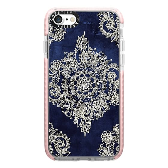 iPhone 7 Cases - Cream Floral Pattern on Deep Indigo Ink