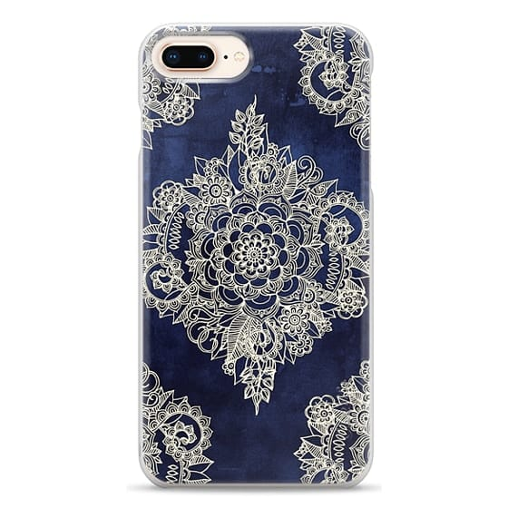 iPhone 8 Plus Cases - Cream Floral Pattern on Deep Indigo Ink