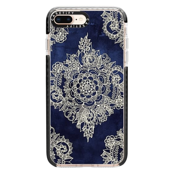 iPhone 8 Plus Cases - Cream Floral Pattern on Deep Indigo Ink