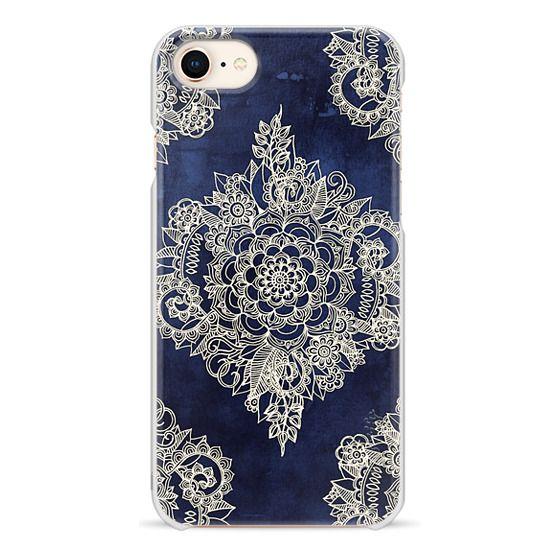 iPhone 8 Cases - Cream Floral Pattern on Deep Indigo Ink