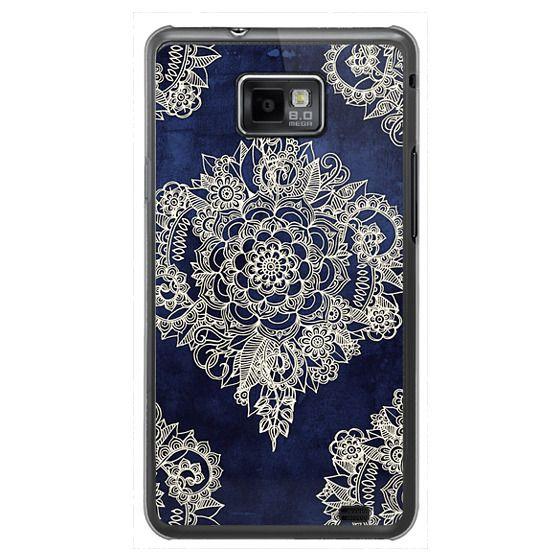 Samsung Galaxy S2 Cases - Cream Floral Pattern on Deep Indigo Ink