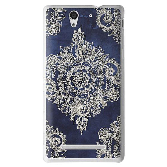 Sony C3 Cases - Cream Floral Pattern on Deep Indigo Ink