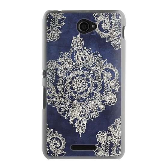 Sony E4 Cases - Cream Floral Pattern on Deep Indigo Ink