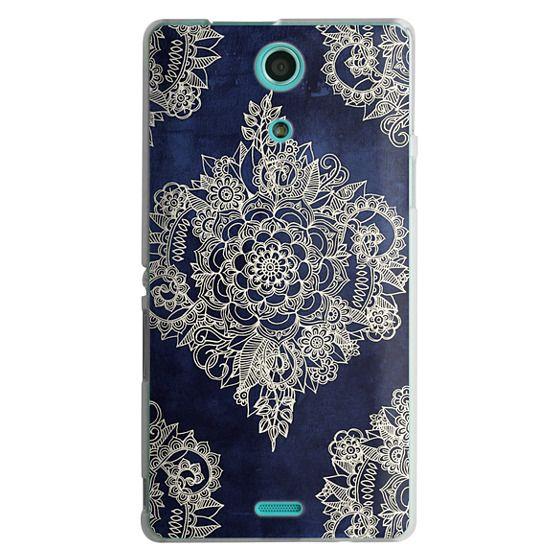 Sony Zr Cases - Cream Floral Pattern on Deep Indigo Ink