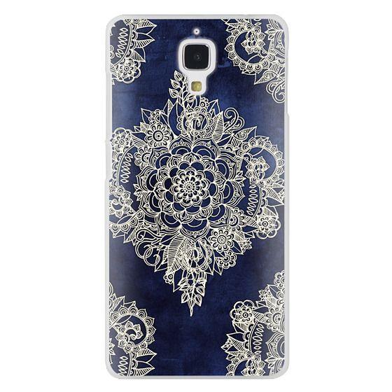 Xiaomi 4 Cases - Cream Floral Pattern on Deep Indigo Ink