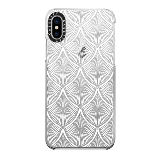 iPhone X Cases - White Art Deco Lace on Crystal Transparent