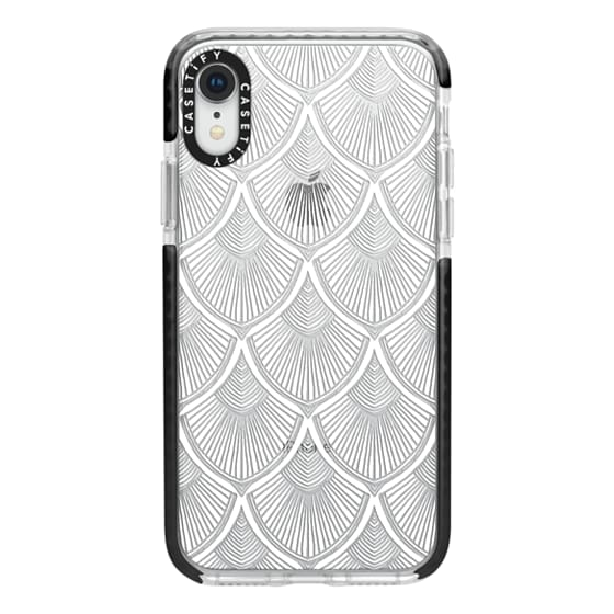 iPhone XR Cases - White Art Deco Lace on Crystal Transparent