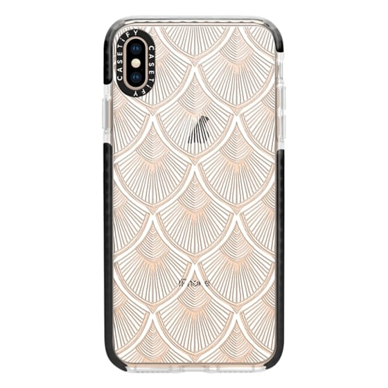 iPhone XS Max Cases - White Art Deco Lace on Crystal Transparent