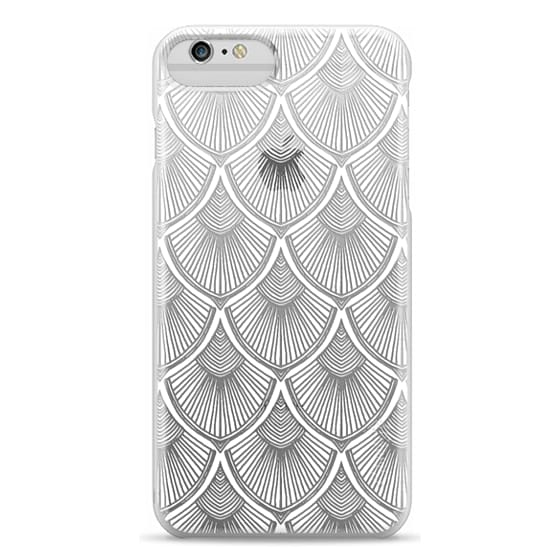 iPhone 6 Plus Cases - White Art Deco Lace on Crystal Transparent