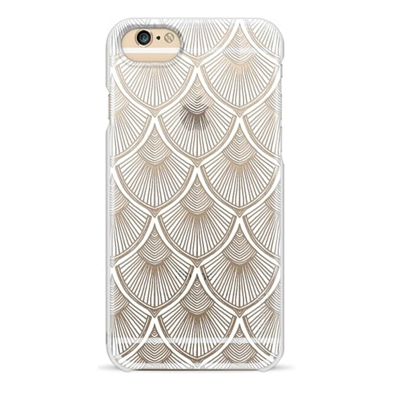 iPhone 6 Cases - White Art Deco Lace on Crystal Transparent