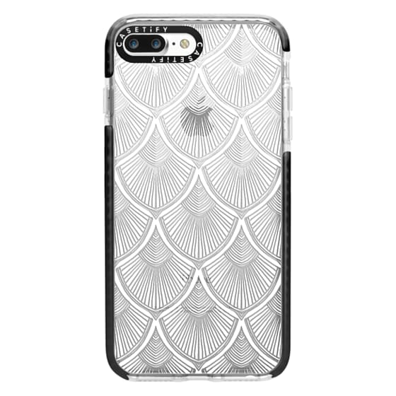 iPhone 7 Plus Cases - White Art Deco Lace on Crystal Transparent