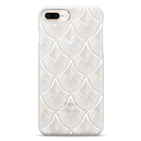 iPhone 8 Plus Cases - White Art Deco Lace on Crystal Transparent