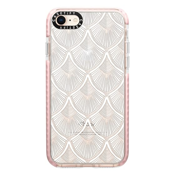 iPhone 8 Cases - White Art Deco Lace on Crystal Transparent