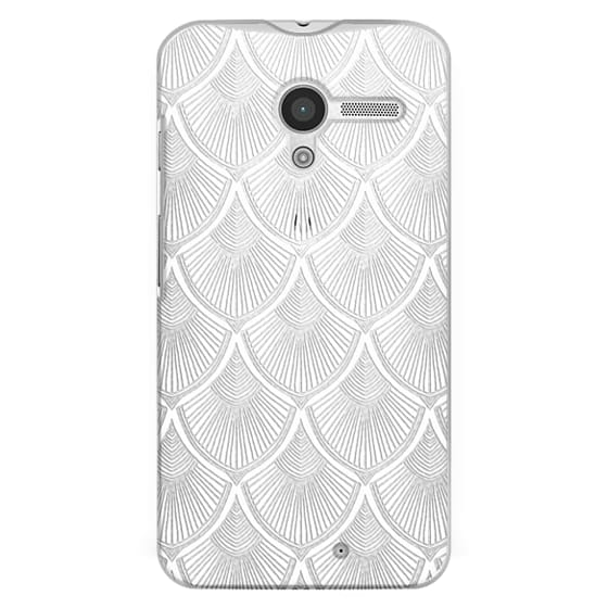 Moto X Cases - White Art Deco Lace on Crystal Transparent