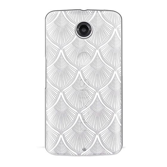 Nexus 6 Cases - White Art Deco Lace on Crystal Transparent