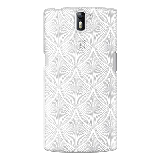 One Plus One Cases - White Art Deco Lace on Crystal Transparent