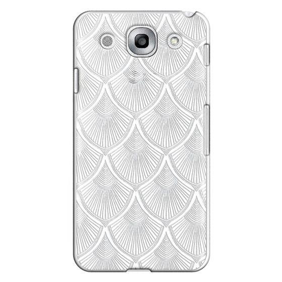 Optimus G Pro Cases - White Art Deco Lace on Crystal Transparent