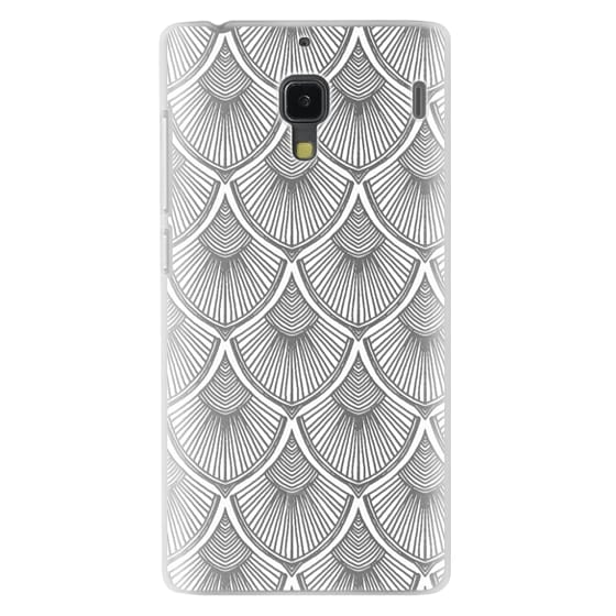 Redmi 1s Cases - White Art Deco Lace on Crystal Transparent