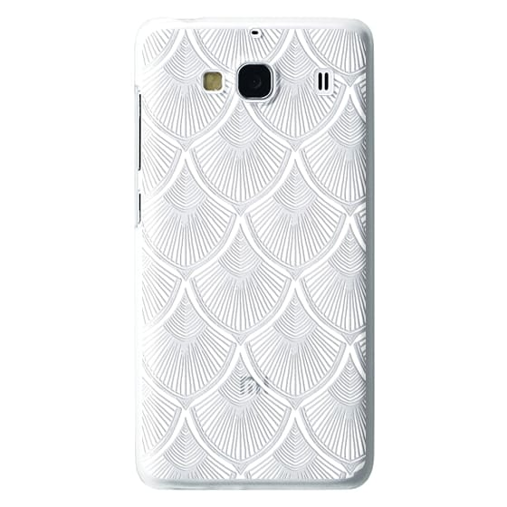 Redmi 2 Cases - White Art Deco Lace on Crystal Transparent