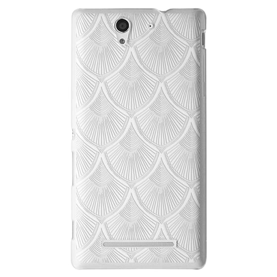 Sony C3 Cases - White Art Deco Lace on Crystal Transparent