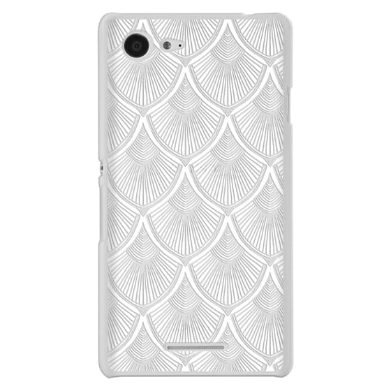 Sony E3 Cases - White Art Deco Lace on Crystal Transparent