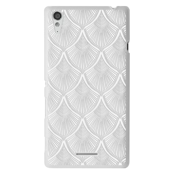 Sony T3 Cases - White Art Deco Lace on Crystal Transparent