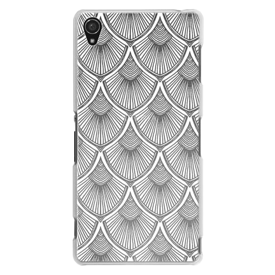 Sony Z3 Cases - White Art Deco Lace on Crystal Transparent