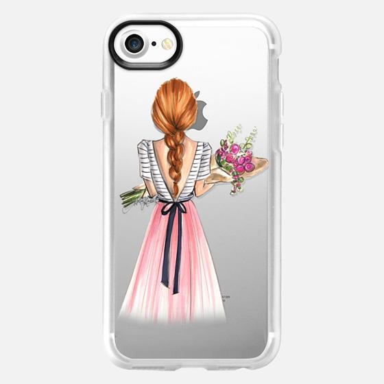 Bouquet (Red Hair Option 3/4, Fashion Illustration Transparent Case) - Wallet Case