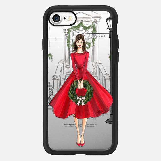Holly Lane (Holiday/Christmas Fashion Illustration Case, Brunette) -
