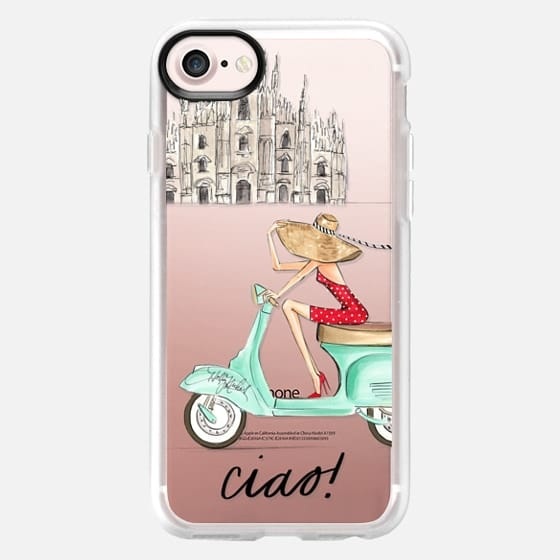 Ciao- Vespa Girl Milan Italy (fashion illustration transparent case) - Classic Grip Case