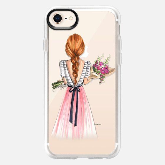 Bouquet (Red Hair Option 3/4, Fashion Illustration Transparent Case) - Snap Case