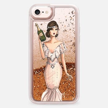 iPhone 7 Case I'll Bring the Bubbly (Champagne Girl, Fashion Illustration Clear Case)