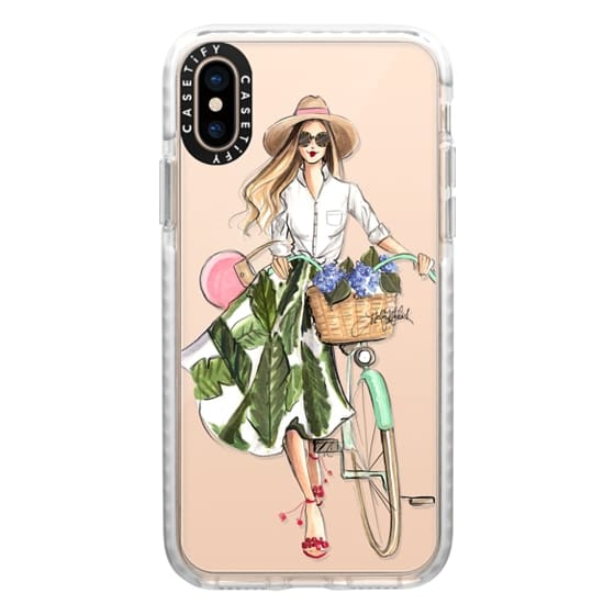 iPhone XS Cases - Hydrangea Hunt (Girl with Bike Fashion Illustration Transparent Case)