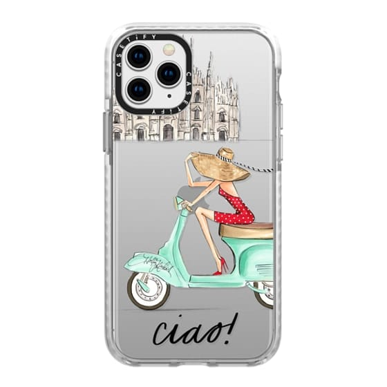 iPhone 11 Pro Cases - Ciao- Vespa Girl Milan Italy (fashion illustration transparent case)