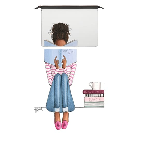 MacBook Air Retina 13 Sleeves - Bookshelf Chic (Fashion Illustration MacBook case, Girl Reading, Natural Hair)
