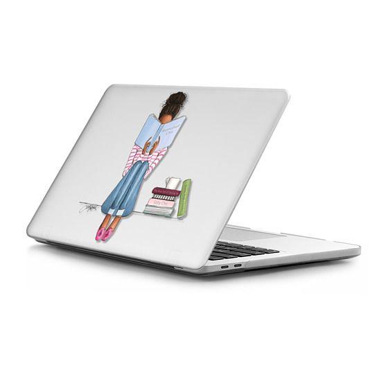 MacBook Pro Touchbar 13 Sleeves - Bookshelf Chic (Fashion Illustration MacBook case, Girl Reading, Natural Hair)