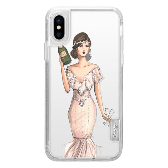 iPhone X Cases - I'll Bring the Bubbly (Champagne Girl, Fashion Illustration Clear Case)