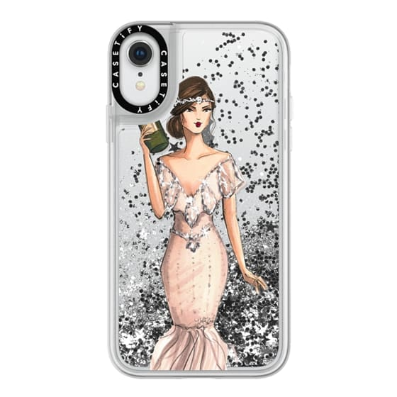 iPhone XR Cases - I'll Bring the Bubbly (Champagne Girl, Fashion Illustration Clear Case)