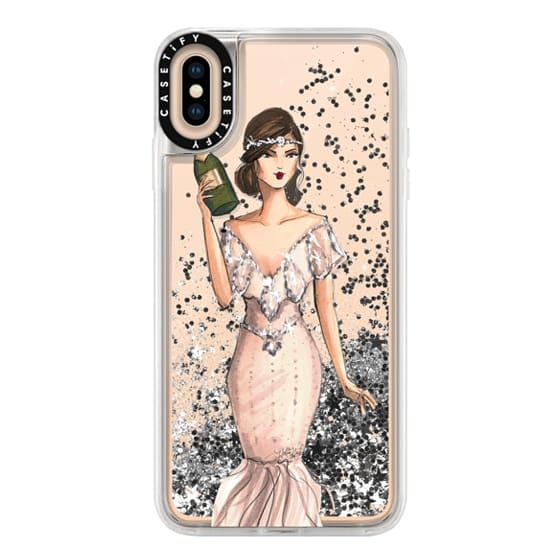iPhone XS Max Cases - I'll Bring the Bubbly (Champagne Girl, Fashion Illustration Clear Case)