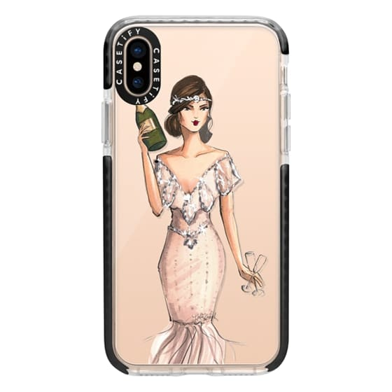 iPhone XS Cases - I'll Bring the Bubbly (Champagne Girl, Fashion Illustration Clear Case)