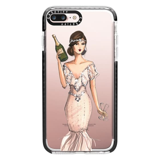 iPhone 7 Plus Cases - I'll Bring the Bubbly (Champagne Girl, Fashion Illustration Clear Case)