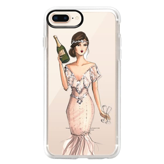 iPhone 8 Plus Cases - I'll Bring the Bubbly (Champagne Girl, Fashion Illustration Clear Case)