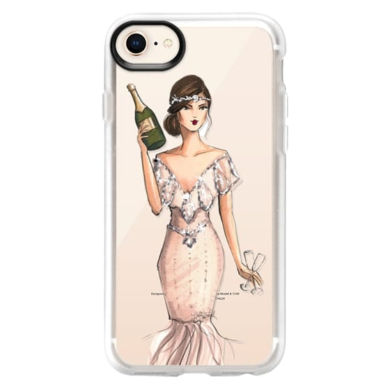 iPhone 8 Cases - I'll Bring the Bubbly (Champagne Girl, Fashion Illustration Clear Case)